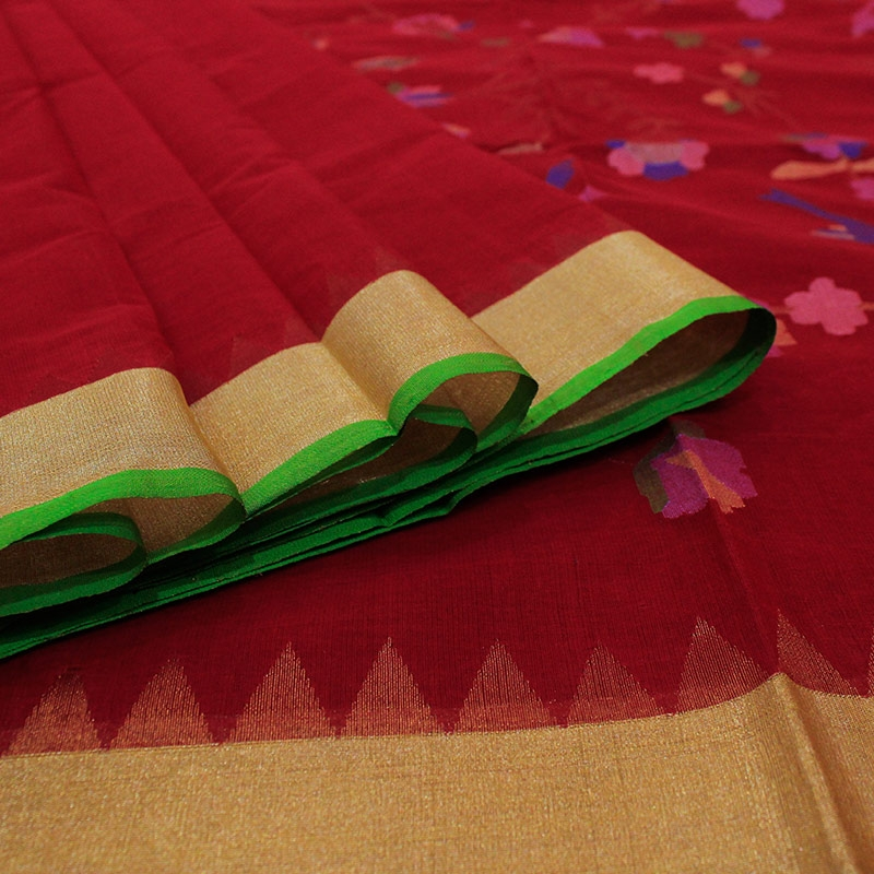 Red Cotton Uppada Saree With Flower and Leaf Motifs-3047