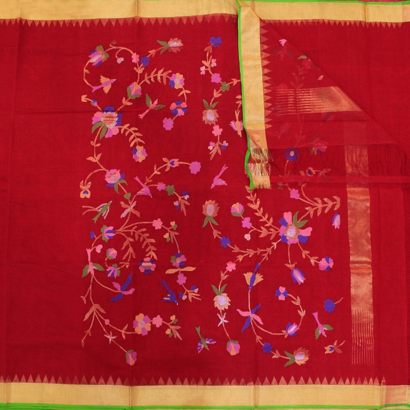 Red Cotton Uppada Saree With Flower and Leaf Motifs-3045