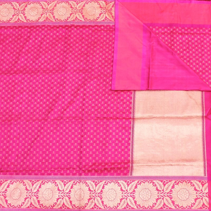 Pink Banarasi Saree With Flower Buttas-2887