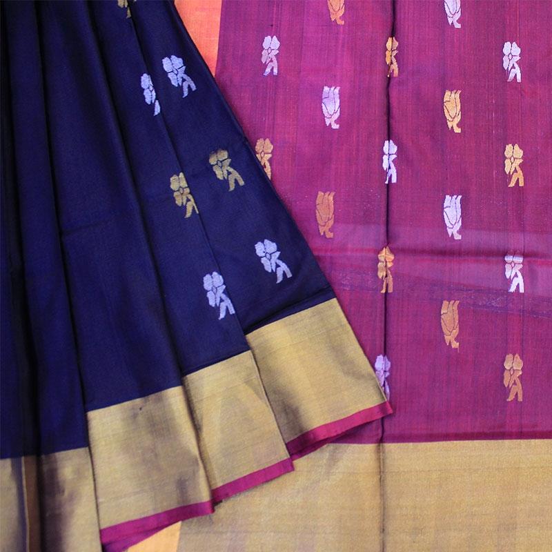 Purple Colour Uppada Pure Silk Handloom Saree-0