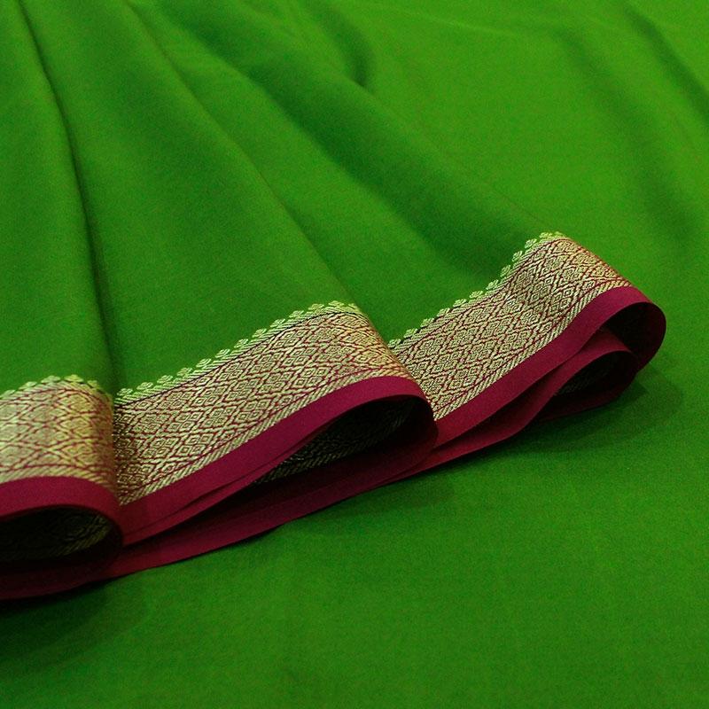 Green Mysore Silk Saree-3079