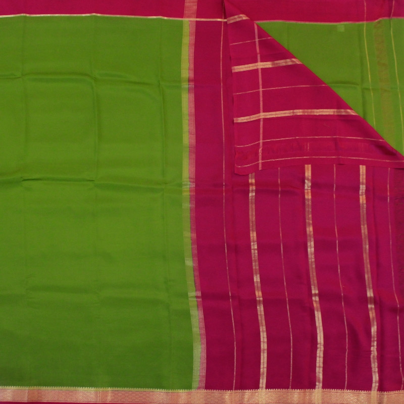 Green Mysore Silk Saree-3077