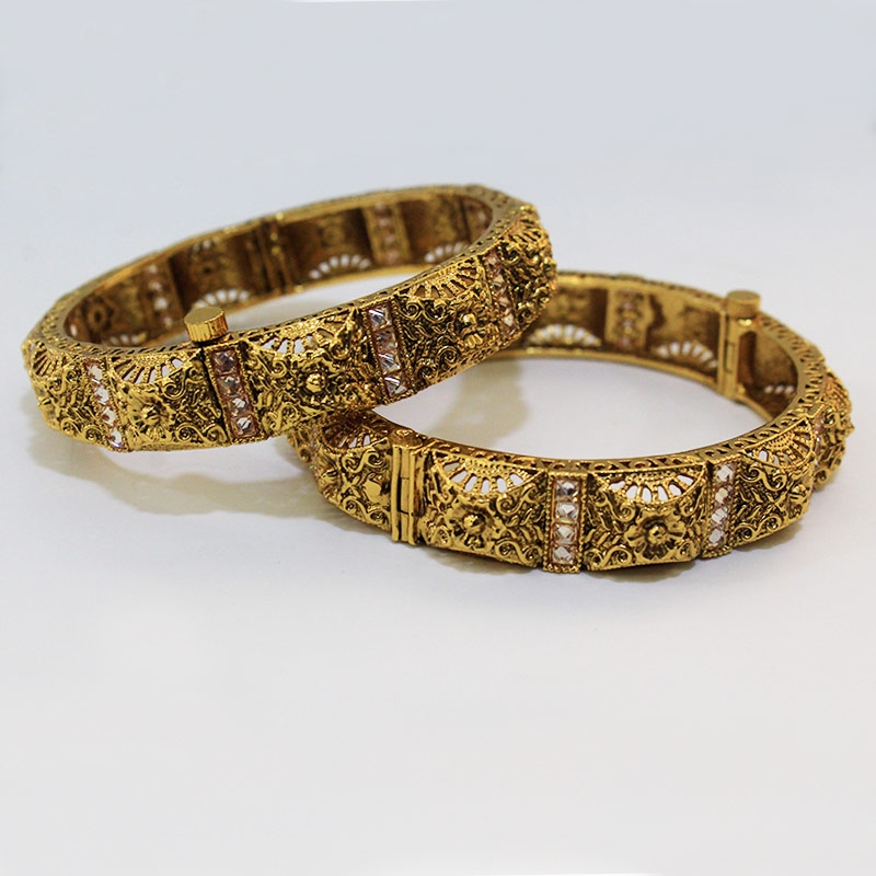 Gold Plated Wedding And Party Wear Bangles For Women Traditional Bangles Set-0