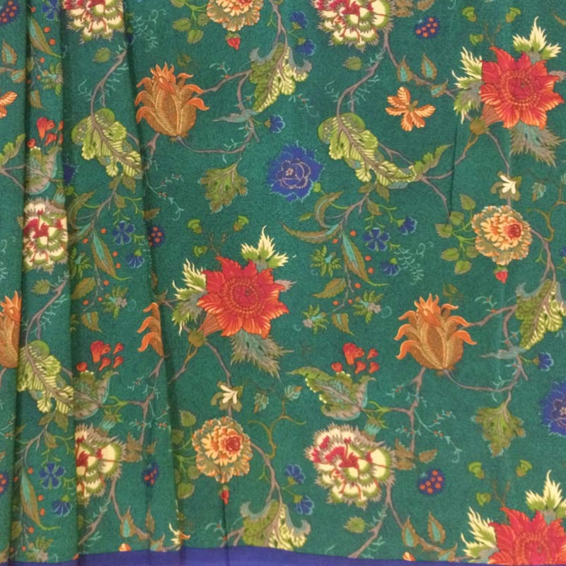 Forest Green Crape Silk Sarees With Pretty Floral Print Allover -2755