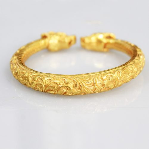 Gold Plated Temple Yali Faced Bangle -0
