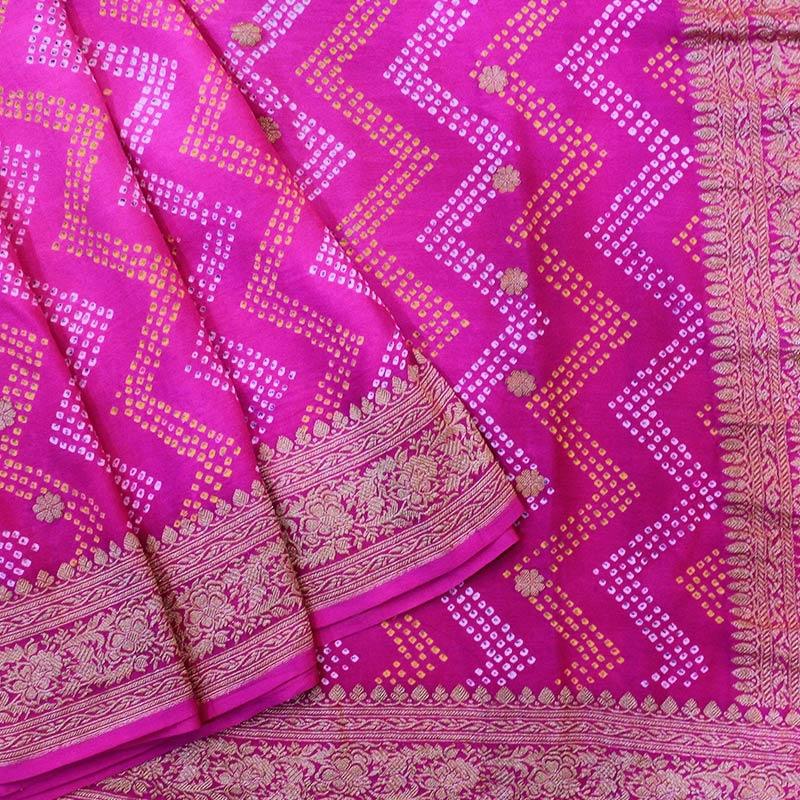 Pink Banarasi Bandhani Pure Georgette Saree-0