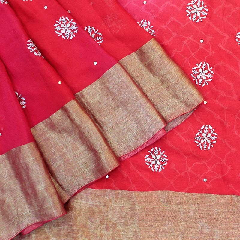 Double Shaded Sarees Red Silk Sarees-0