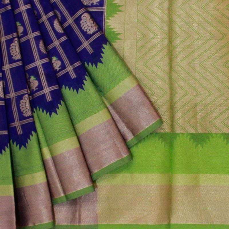 Purple Cotton Silk Saree in Patola Weave-0