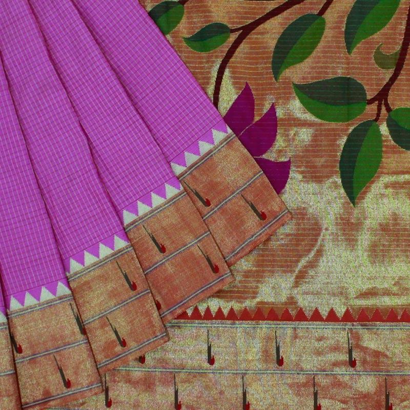 Pink Paithani Saree With Heavy Pallu-0