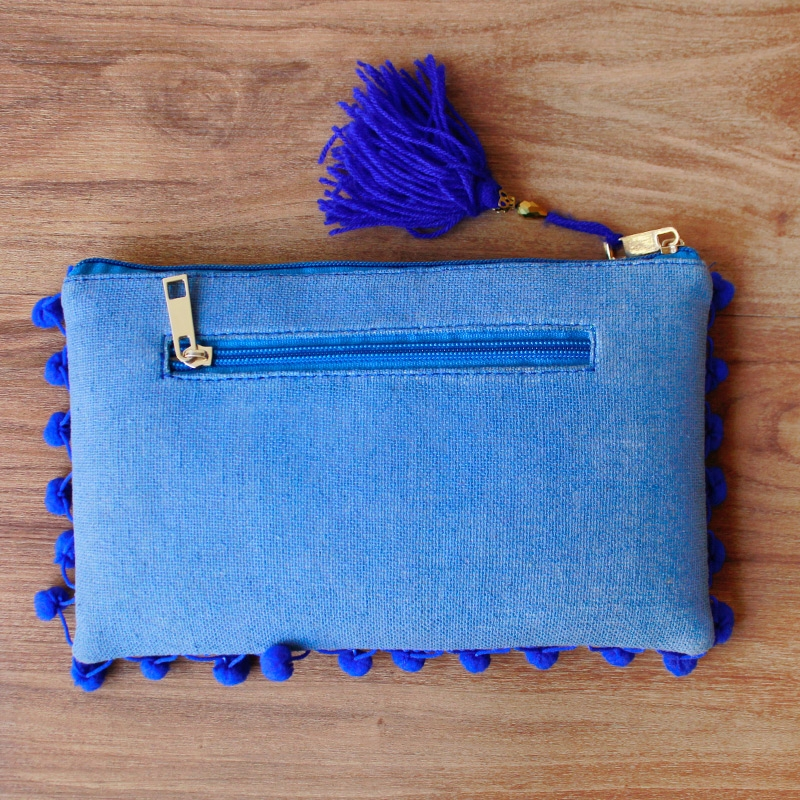 Blue Pom Pom Clutch Bag-4087