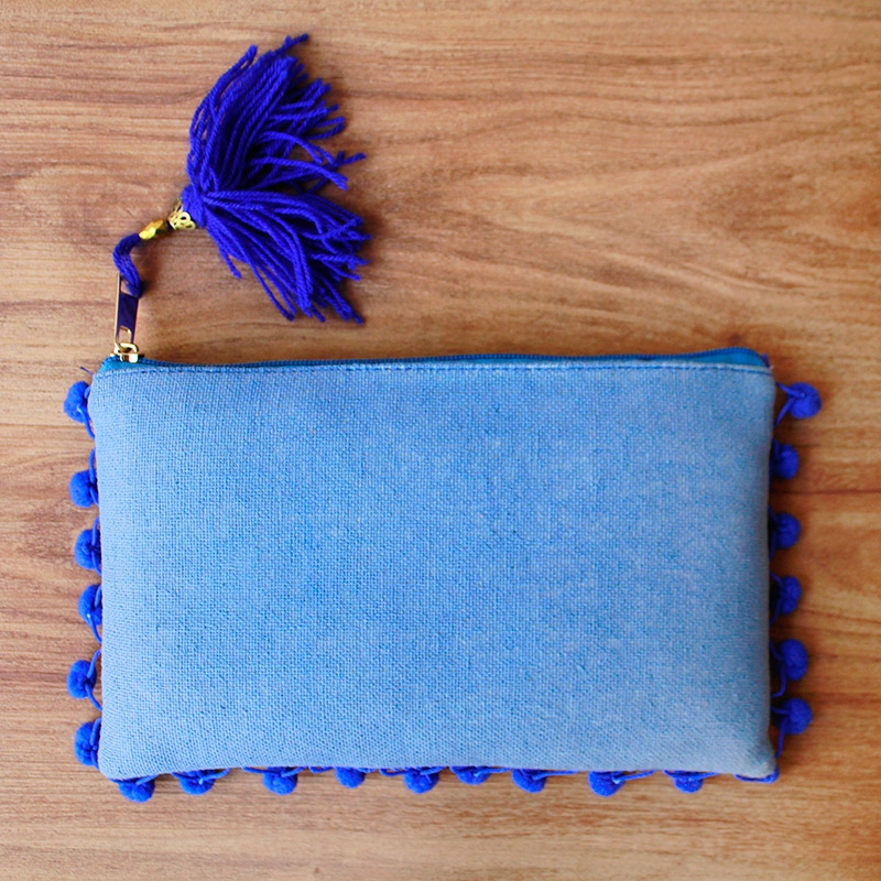 Blue Pom Pom Clutch Bag-0