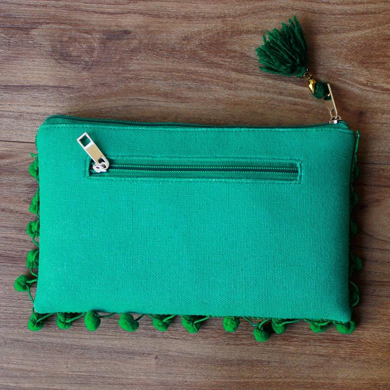 Green Pom Pom Clutch Bag-4085