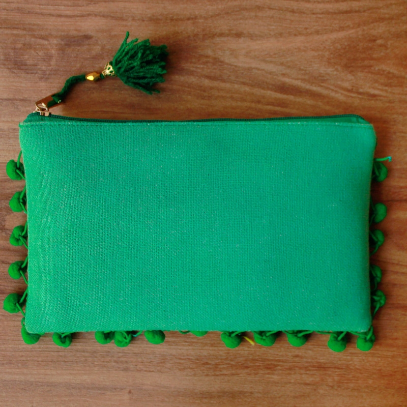 Green Pom Pom Clutch Bag-0