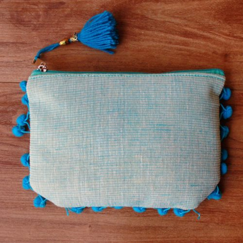Sky Blue Pom Pom Clutch Bag-0