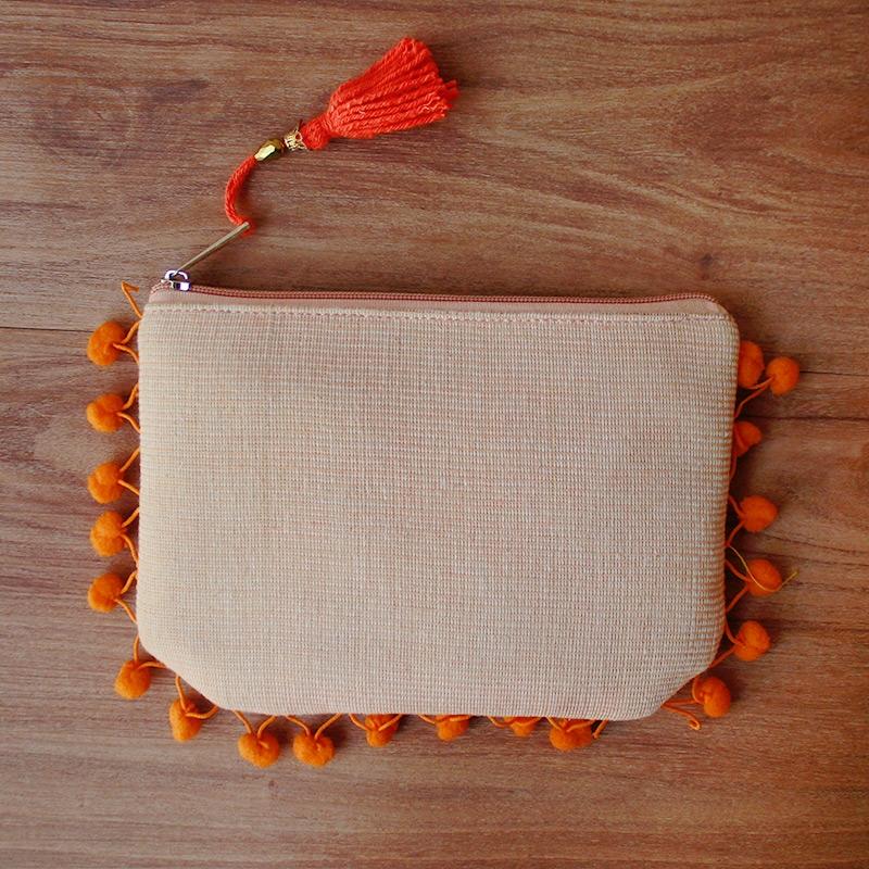 Orange Pom Pom Clutch Bag-0