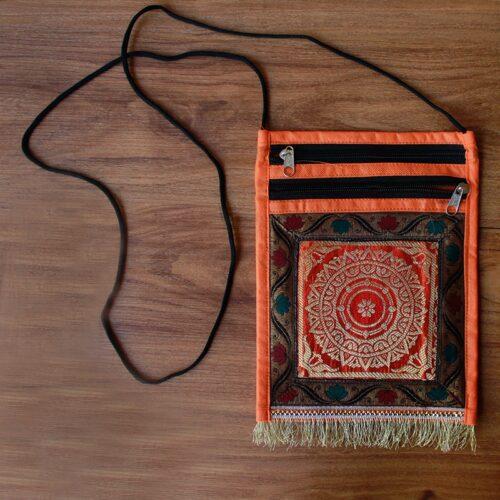 Orange Brocade Pouch-0