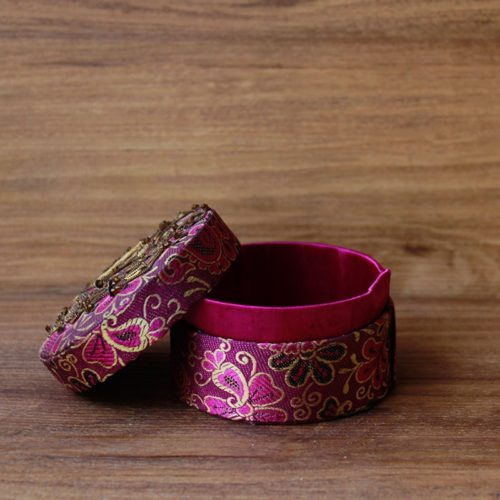 Pink Hand Embroiderred Jewellery box( Round)-0