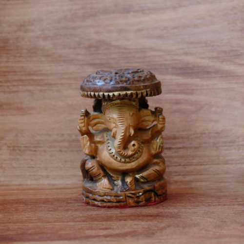 Handcarved Wooden Ganesha With Chatri-0