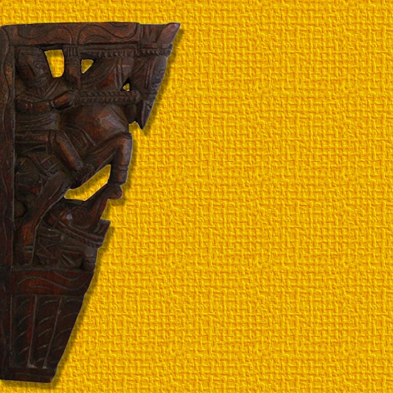 Horse and Elephant Wooden Wall Bracket-0