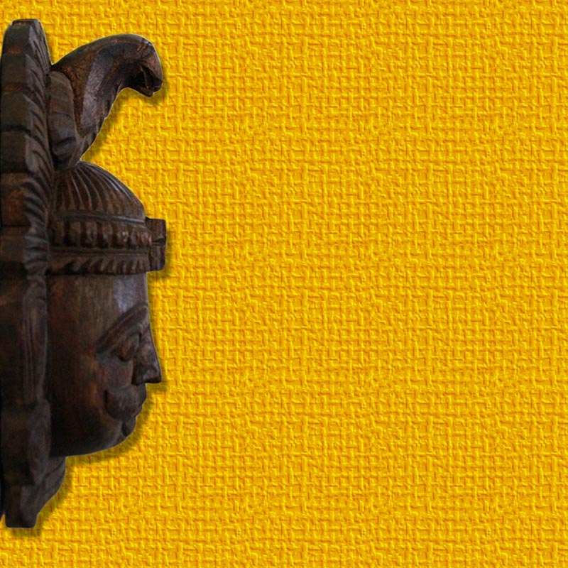 Shiva Face Mask Wooden Wall Bracket-3859