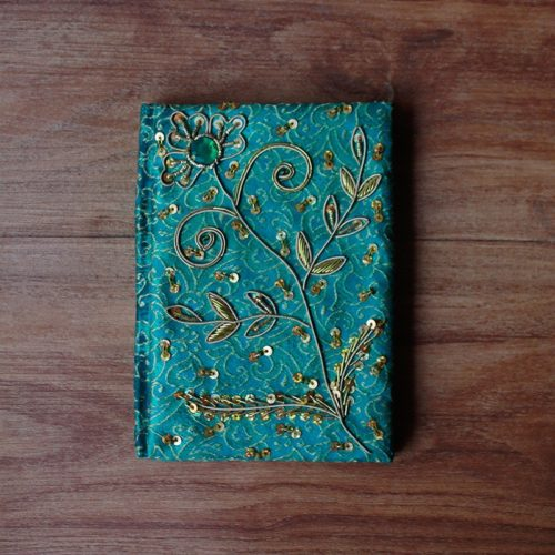 Green Zardosi Brocade Diary -0