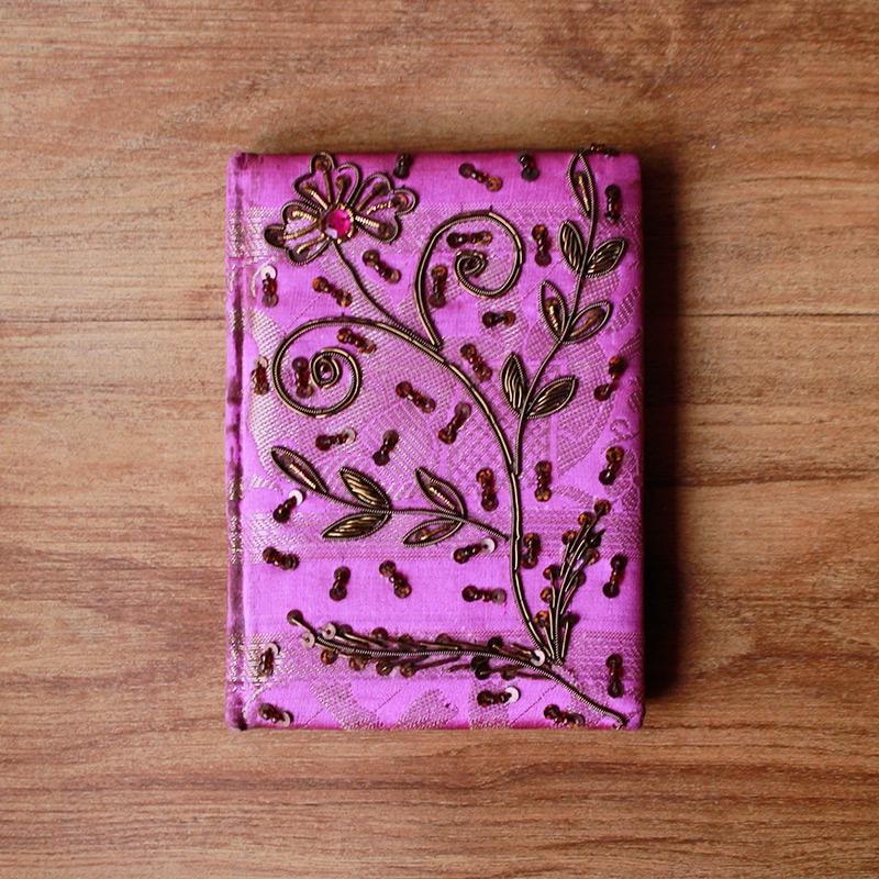 Pink Zardosi Brocade Diary -0