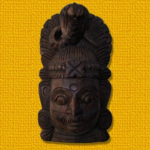 Shiva Face Mask Wooden Wall Bracket-0