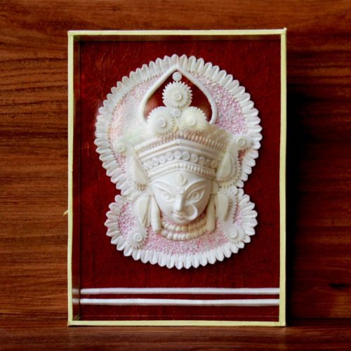 Shola Wood Carved Durga Statue With Glass Frame-0