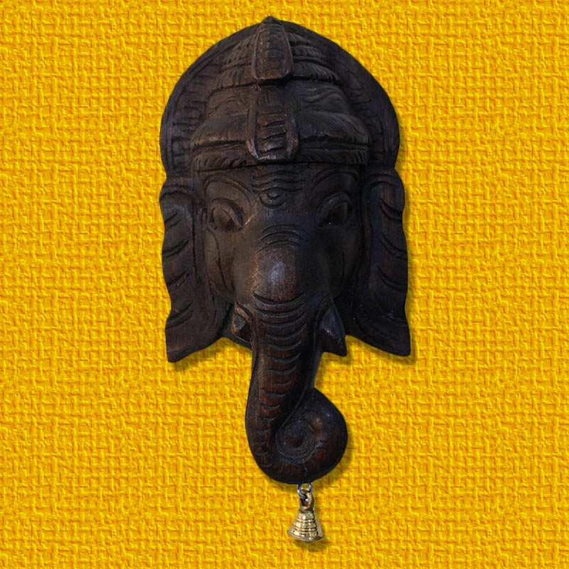 Ganesha Face Mask Wooden Bracket-0