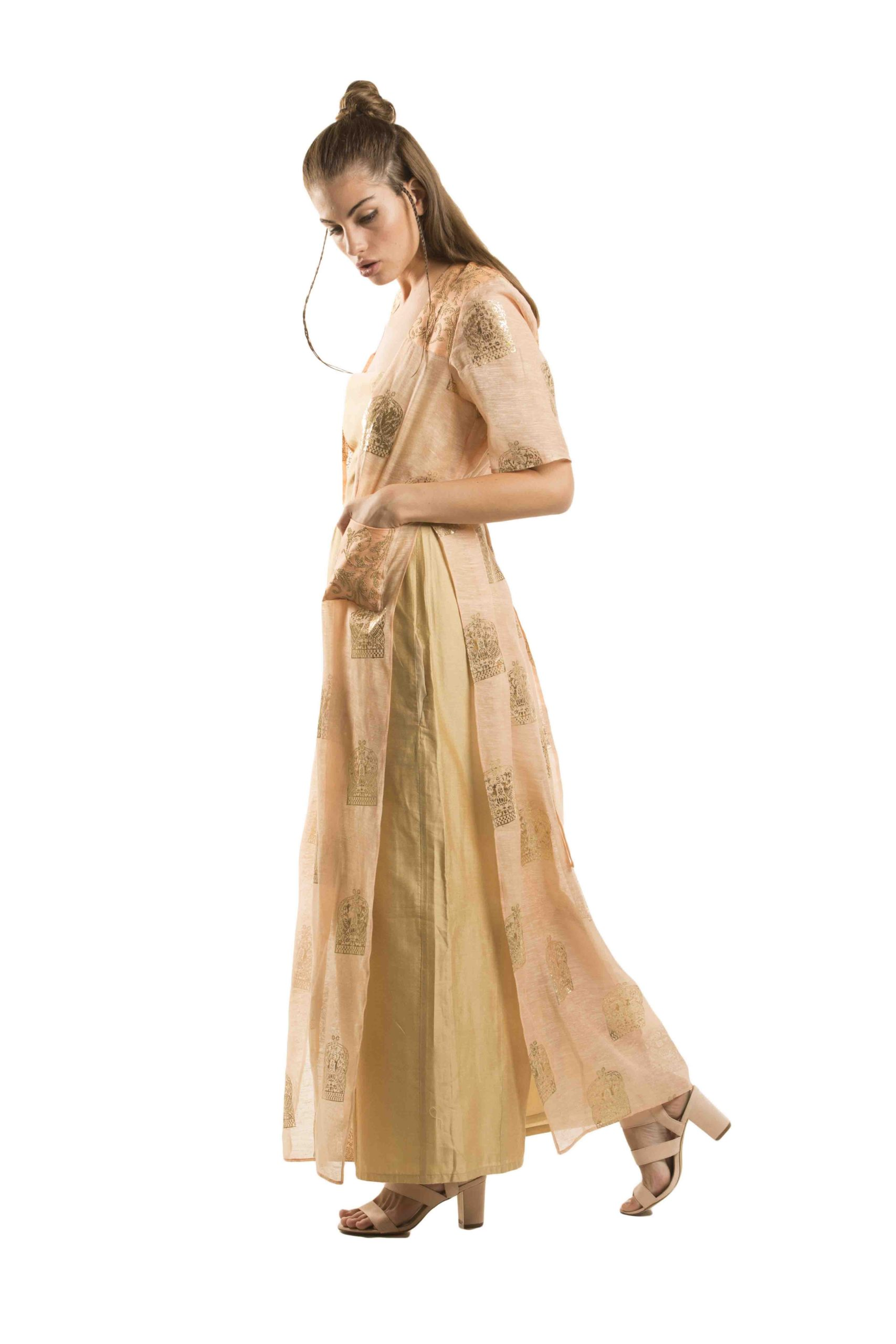 Long Straight cut jacket made in silk linen delicate fabric -3654