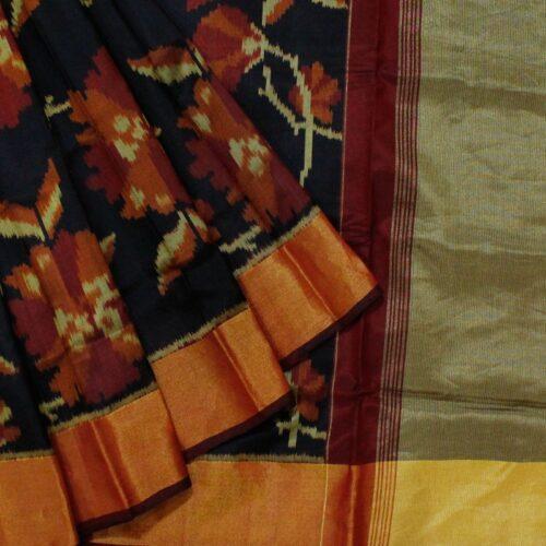 Black And Maroon Patola Silk Saree-0