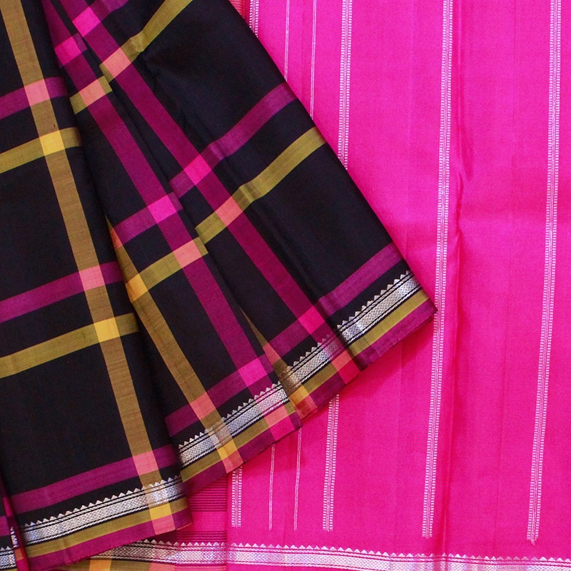 Classy Checkered Black Kanchipuram Saree-0