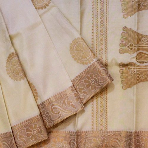 Off white Vishnu Paduka Kanchipuram Saree-0