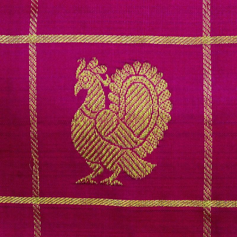 Magenta Rudraksha And Peacock Kanchipuram Sareee-4731