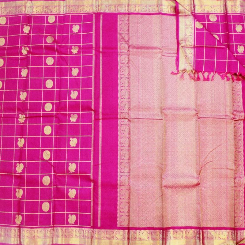 Magenta Rudraksha And Peacock Kanchipuram Sareee-4726