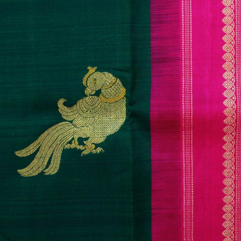 Bottle Green Parrot Kanchipuram Saree-4816
