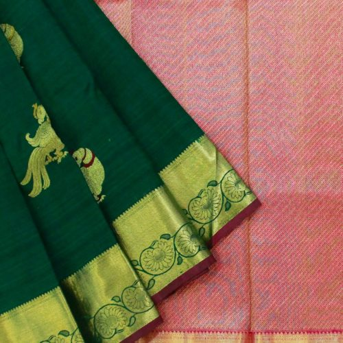 Bottle Green Parrot Kanchipuram Saree-0