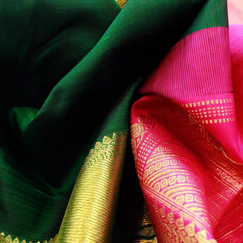 Bottle Green Parrot Kanchipuram Saree-4819