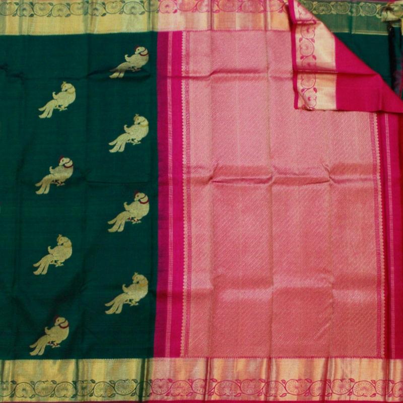Bottle Green Parrot Kanchipuram Saree-4815