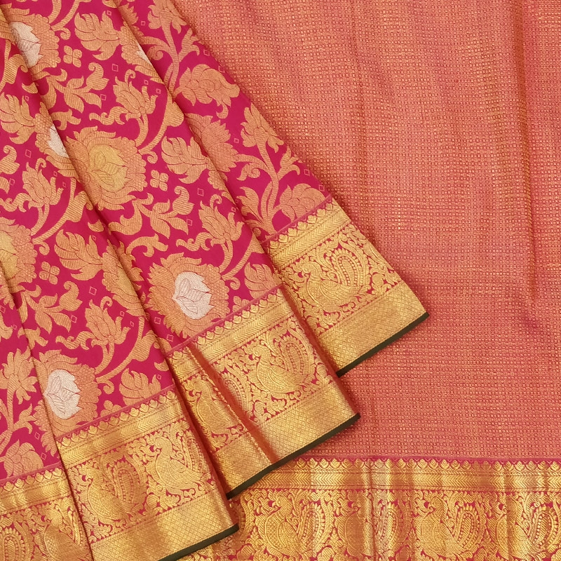 Pink Flower Jaal Kanchipuram Saree-0