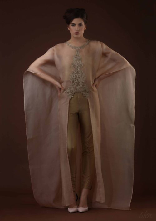 Signature long cape in handwoven silk
