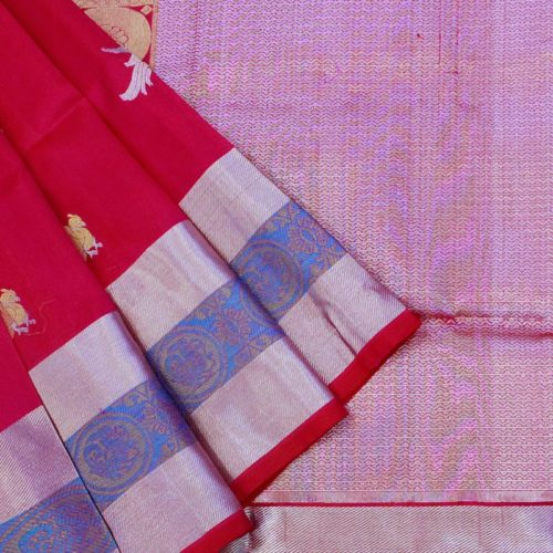 Fuschia Pink Parrot Venkatgiri Silk Saree-0