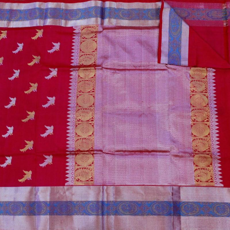 Fuschia Pink Parrot Venkatgiri Silk Saree-5321