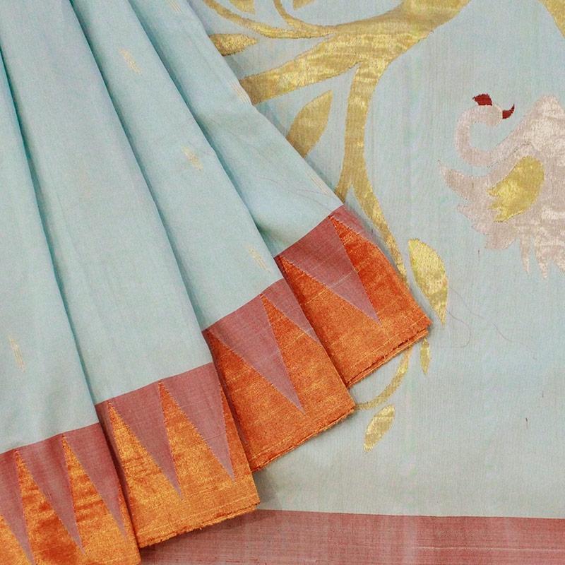 Ice Blue Swan Cotton Paithani Saree-0
