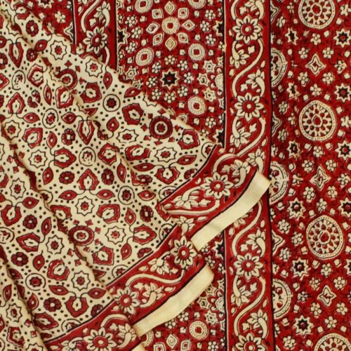 Beige And Red Ajrakh Gajji Silk Saree-0