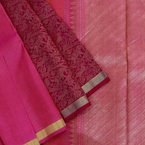 Pink Shikargarh Kanchipuram Silk Saree-0
