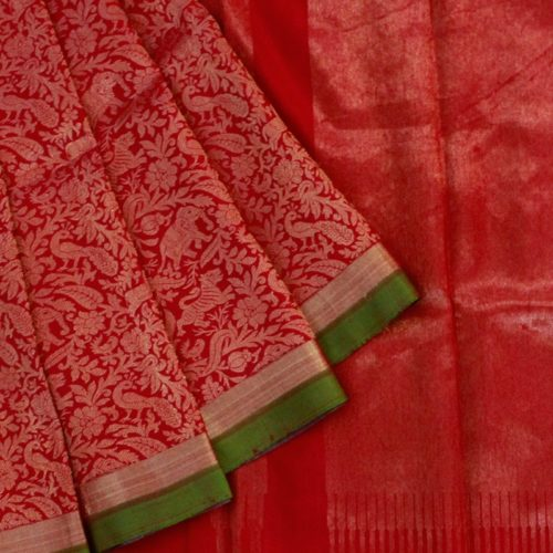 Red Shikargarh Kanchipuram Silk Saree-0