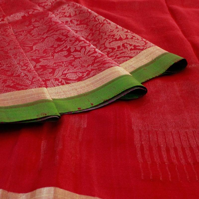 Red Shikargarh Kanchipuram Silk Saree-5640