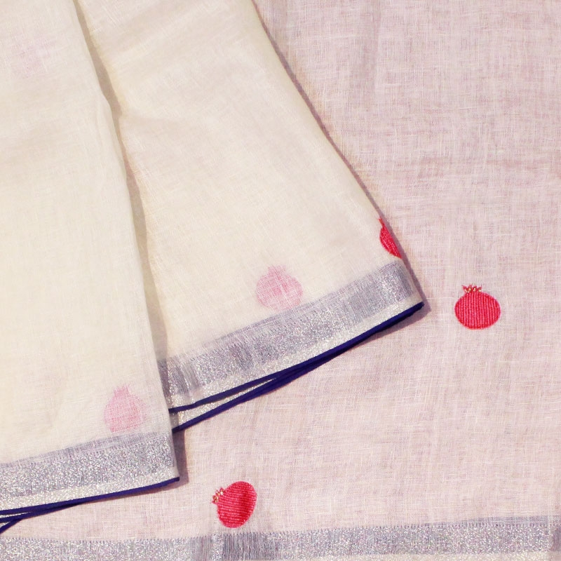 Hand embroidered Pomegranate Linen Saree-0