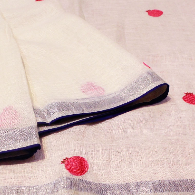Hand embroidered Pomegranate Linen Saree-5844